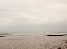 Beautiful empty white grey overcast river with mudflat patterns Royalty Free Stock Images