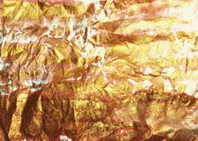 Beautiful emty golden watercolor background, crumpled paper texture. For your design royalty free stock image
