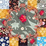 Beautiful endless patchwork pattern with stylized mandala in vector. Cushion, pillowcase, ceramic tile. Ethnic motives.  stock illustration