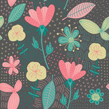 Colorful floral seamless pattern. Vector illustration. Beautiful endless pattern in bright colors for your design Stock Image