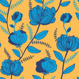 Bright floral pattern in yellow and blue. Abstract flower background. Vector illustration Royalty Free Stock Photography