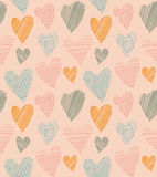 Romantic cute pattern with hearts. Doodle heart. Abstract love background in vintage style. Vector illustration Stock Images