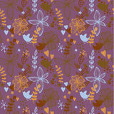 Cute seamless pattern with flowers and birds. Abstract floral background. Vector illustration Royalty Free Stock Photo