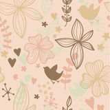 Cute seamless pattern with flowers and birds. Abstract floral background. Vector illustration Stock Images