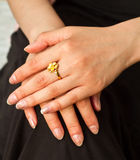 Beautiful engagement ring on a daughter's finger Royalty Free Stock Photos