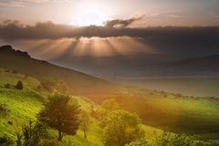 Beautiful English countryside landscape. Stunning landscape at sunset over rolling English countryside Royalty Free Stock Photo