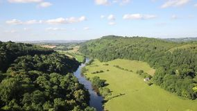 Beautiful English countryside the Wye Valley and River Wye between Herefordshire and Gloucestershire pan stock video