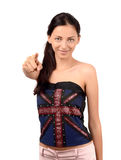 Beautiful English girl pointing in front to you. Royalty Free Stock Photography