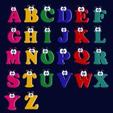 Beautiful English multicolored jolly alphabet Latin letters. With eyes for childrens lettering and studying stock illustration