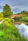 Beautiful English river and bridge on calm still day in colourful HDR Royalty Free Stock Photo