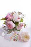 Beautiful English rose flower bouquet on white background Stock Photo