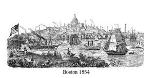 Beautiful engraving of Boston harbor Stock Image