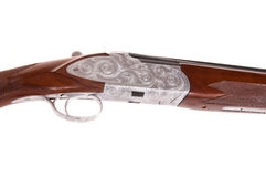 Beautiful engraving. Exquisite workmanship in the engraving of this Turkish made shotgun Royalty Free Stock Images