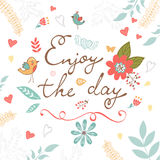 Beautiful enjoy the day concept floral card Stock Photos