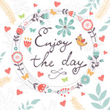 Beautiful enjoy the day concept floral card Royalty Free Stock Image