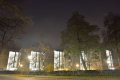 Beautiful enlightened stairscases at night. In a office building Royalty Free Stock Photography