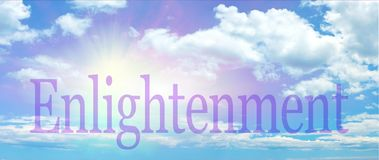 Beautiful Enlightenment Blue Sky Banner. Uplifting wide blue sky background with fluffy clouds and sun burst making the dot of the I in ENLIGHTENMENT stock photos