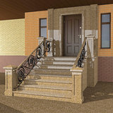 Entrance to the house with wrought iron railings Royalty Free Stock Photography