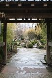 Beautiful entrance gate to the Japanese garden royalty free stock photo