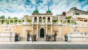 Beautiful entrance to the Buda Castle. With sculptures of lion Royalty Free Stock Image