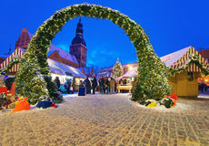 Beautiful Entrance To The Christmas Market In Riga Royalty Free Stock Image