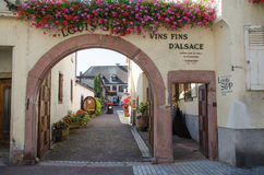 Beautiful entrance in the village Ribeauville in France Royalty Free Stock Photos