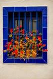 Beautiful entries, doors and windows of Frigiliana. Village of Malaga stock photography