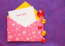 Beautiful envelope with a note Royalty Free Stock Photo