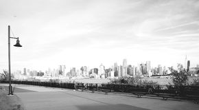 Beautiful epic black and white photograph from new york city skyline.  Royalty Free Stock Image