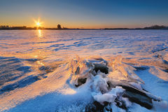 Beautiful epic sunset in winter III Royalty Free Stock Photography