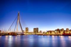 Beautiful Erasmus Bridge in Rotterdam. Travel Concepts. View of Unique and Beautiful Erasmus Bridge in Rotterdam. Shot During Blue Hour.Horizontal Composition Stock Photo
