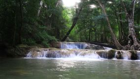 Waterfall in the forest.Kanchanaburi, Thailand stock footage