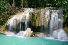Beautiful Erawan waterfalls. Erawan waterfalls in Kanchanaburi, Thailand Stock Photos