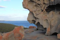 Amazing rocks formations in the coast stock photo