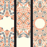 Beautiful ethinic ornamental banner set. Beautiful colorful ornamental floral vector ethnic banner set Stock Photography