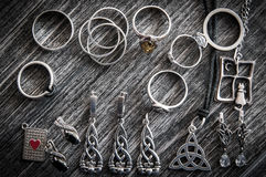Beautiful ethnic Scandinavian Celtic Claddagh Silver jewelry Necklace, Earrings, Bracelets Stock Images