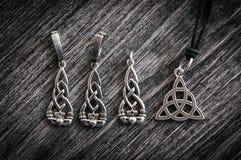 Beautiful ethnic Scandinavian Celtic Claddagh Silver jewelry Necklace, Earrings, Bracelets Royalty Free Stock Photos