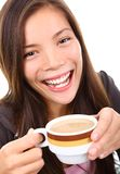 Beautiful ethnic woman with coffee smiling Royalty Free Stock Images