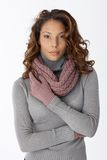Beautiful ethnic woman in scarf and gloves Stock Images