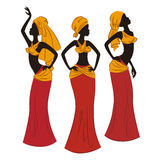 Beautiful ethnic women. Traditionally dancing. Vector illustration isolated on white background Stock Photo