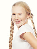 Beautiful European blonde girl with braids. Stock Images