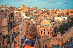 Beautiful european city Valletta with balconies and narrow stree. Ts, Malta Royalty Free Stock Photos