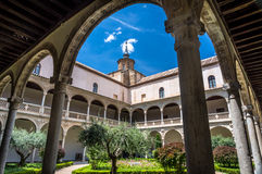 Beautiful European courtyard. European style court yard in Toledo, Spain Royalty Free Stock Images