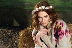 Beautiful European Girl on the Farm Royalty Free Stock Photos