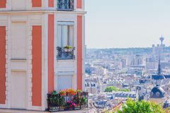 Beautiful european houses and balcony view in Paris, France. View to the city from Montmartre Royalty Free Stock Photography