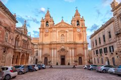 Beautiful european landscape with catholic St. Peter & Paul Cath. Edral, Mdina, Malta Royalty Free Stock Photo