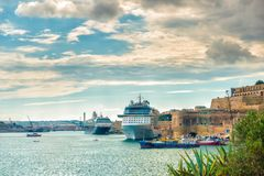 Beautiful european landscape of cruise ship in Grand Harbour in. Day, Valletta, Malta Stock Photo