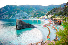 Beautiful european seashore in Monterosso in Italy. Vacation in Europe Stock Photo