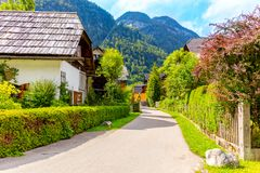 Beautiful european town villadge in Mountains, street and houses stock image