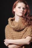 Beautiful european woman with long curly hair. Stock Photos